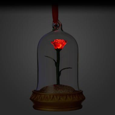 Елочная игрушка Роза Красавица и Чудовище ручной работы светящаяся